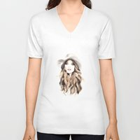 downton abbey V-neck T-shirts featuring Abbey by Esther Kang