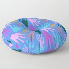 Minimalist Hands in Blue Floor Pillow