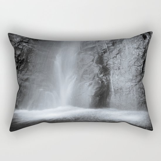 """Mountain waterfall"". Monochrome Rectangular Pillow"