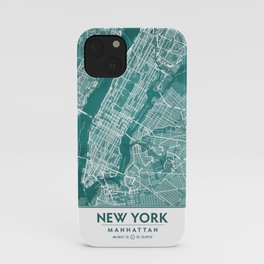 Turquoise Teal Wall Art Showing Manhattan New York City, Brooklyn and New Jersey iPhone Case