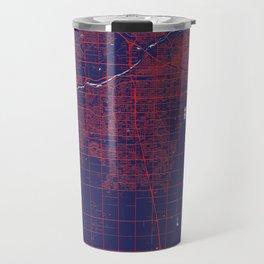 Bakersfield, CA, USA, Blue, White, City, Map Travel Mug
