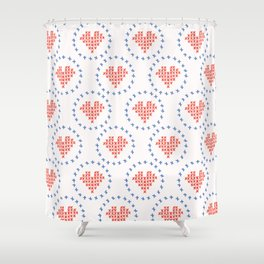 Hand Drawn Embroidery Love Heart Stitches Seamless Vector Pattern. Cross Stitch Shower Curtain