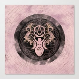 Triple Goddess with pentagram - gentle pastels Canvas Print