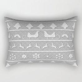 Christmas Silver & White Christmas Quilt Rectangular Pillow