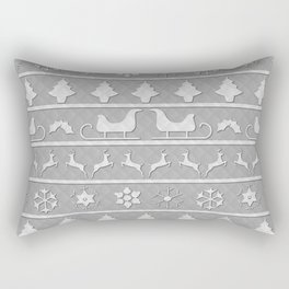 Christmas Silver & White Nordic Knit Ugly Christmas Sweater Rectangular Pillow
