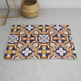 Portuguese Tiles Azulejos Blue Orange Pattern Rug