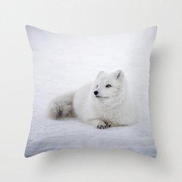 White snow arctic fox Throw Pillow