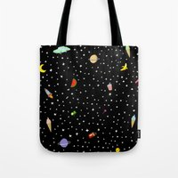 outer space Tote Bags featuring OUTER SPACE by DRAWDEALER