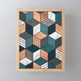 Copper, Marble and Concrete Cubes 2 with Blue Framed Mini Art Print