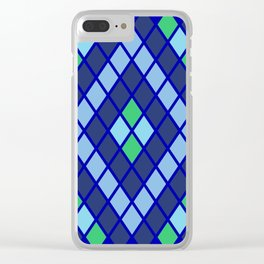 Blue diamonds green grey plaid line chevron Clear iPhone Case