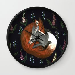 Foxgloves and Harebells Wall Clock