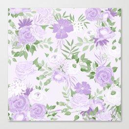 Vintage Purple Flowers Painted Watercolour Garden Pattern Canvas Print