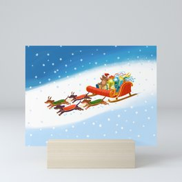 Dachshund open sleigh Mini Art Print