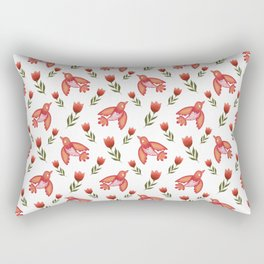 Pretty cute little wild canary birds, red blooming garden tulips, white girly nature pattern. Hello spring. Gift ideas for tulip & canary lovers. Botanical animal artistic design. Rectangular Pillow