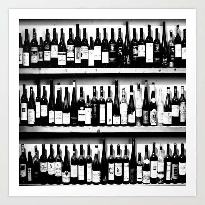 Wine Bottles in Black And White #decor #society6 #buyart Kunstdrucke