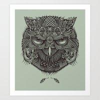 Warrior Owl Face Art Print