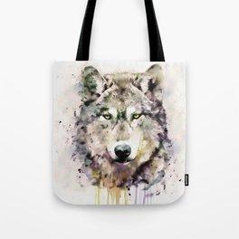 Wolf Head Watercolor Portrait Tote Bag