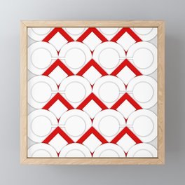 White Circles And Red Squares Abstract Geometric Pattern Framed Mini Art Print
