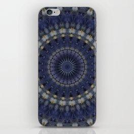 Mandala in dark blue and light cream colour iPhone Skin