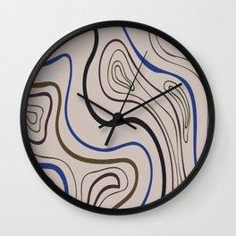 Graphic circular waves digital oil painting lines. Wall Clock