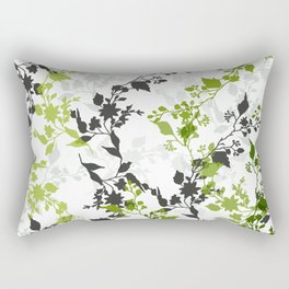 Branches and Leaves in Cobalt Grey and Green Rectangular Pillow