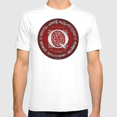 Joshua 24:15 - (Silver on Red) Monogram Q White Mens Fitted Tee MEDIUM