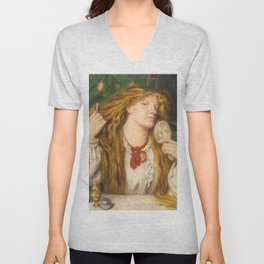 "Dante Gabriel Rossetti ""A woman combing her hair"" Unisex V-Neck"