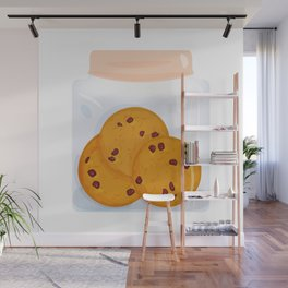 Chocolate chip cookie, homemade biscuit in glass jar Wall Mural