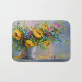 Bouquet de fleurs jaunes Bath Mat