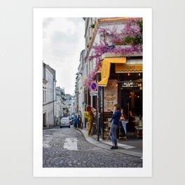 Petit Dejeuners -- Breakfast in Montmartre, Paris Art Print