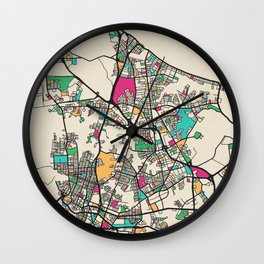 Colorful City Maps: Norfolk, Virginia Wall Clock