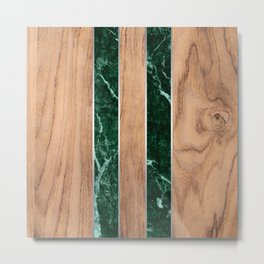Wood Grain Stripes Green Granite #901 Metal Print