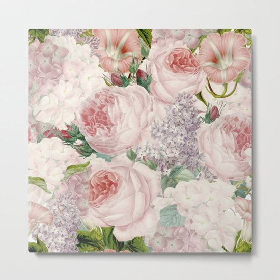 Vintage Roses and Lilacs Pattern - Smelling Dreams on #Society6 Metal Print