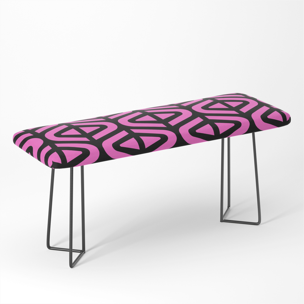 Mid_Century_Modern_Split_Triangle_Pattern_Pink_and_Black_Bench_by_tonymagner