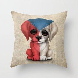 Cute Puppy Dog with flag of Czech Republic Throw Pillow