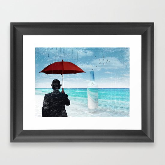 Chaplin at the beach in the rian Framed Art Print