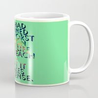 literary Mugs featuring Literary Quote Poster — American Pastoral by Philip Roth by Evan Beltran