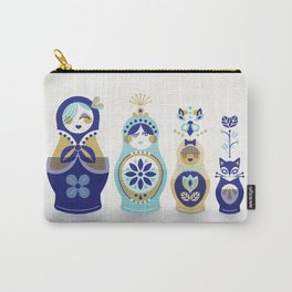 Russian Nesting Dolls – Blue & Gold Carry-All Pouch