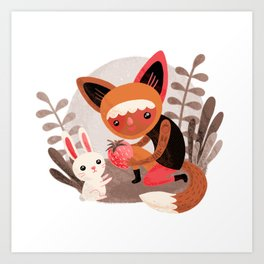 Fox & Rabbit Art Print