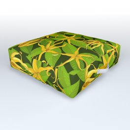 Ylang Ylang Exotic Scented Flowers and Leaves Pattern Outdoor Floor Cushion
