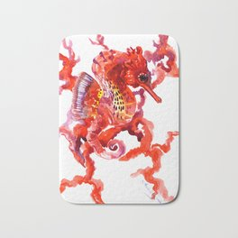 Seahorse red sea world art, corals, Coral red Scarlet Artwork Bath Mat