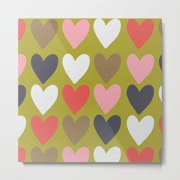 Handdrawn colorful hearts Metal Print