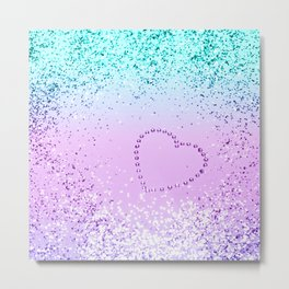 Sparkling UNICORN Girls Glitter Heart #9 #shiny #pastel #decor #art #society6 Metal Print