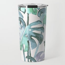 Delicate Monstera Blue And Green #society6 Travel Mug