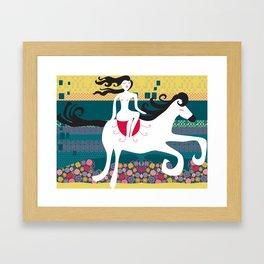 girl on horse on pattern Framed Art Print