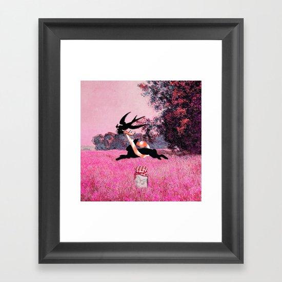 Pink Whimsical cute rabbit, bird vector on field collage Framed Art Print