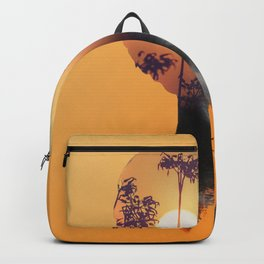 Portrait of Woman with Sunrise Nature Landscape Backpack