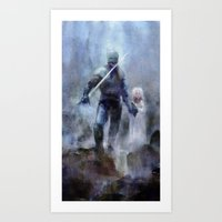 Knight and Girl Art Print