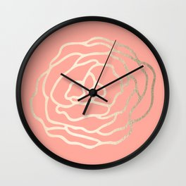 Flower in White Gold Sands on Salmon Pink Wall Clock