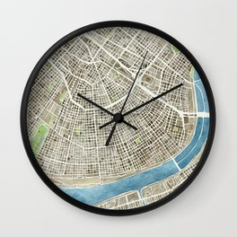 New Orleans City Map Wall Clock